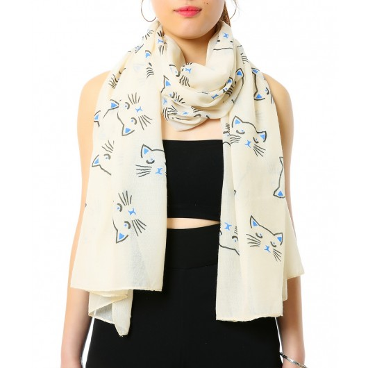 Women's Cat Print Scarf