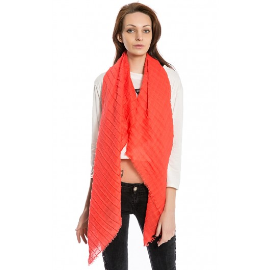 Women's Solid Plaid Scarf