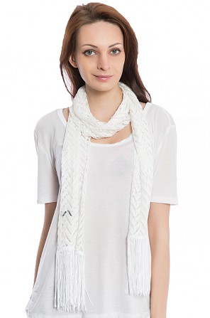 Women's White Hollow Out Scarf