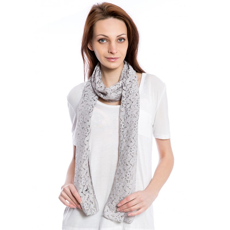 Women's Fashion Grey Leaf Scarf